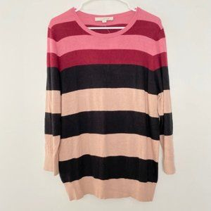 NEW LOFT Large Striped Crew Neck Pullover Sweater